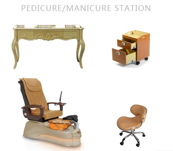 Gold pedicure chair set wholesale manicure table station of nails salon package furniture china DS-T632 SET