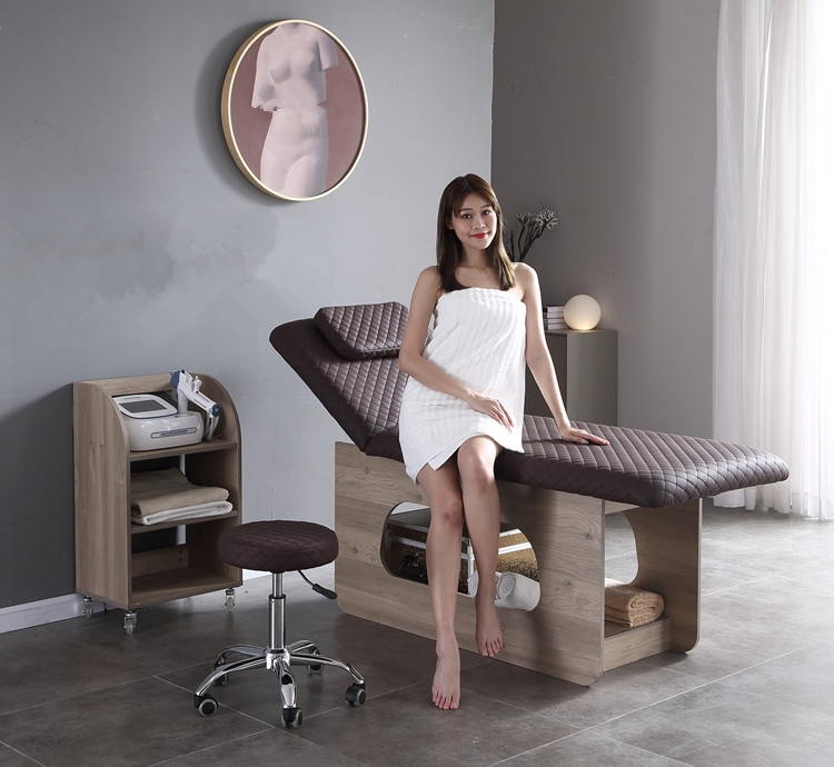 spa massage bed wood base massage bed facial treatment bed cheap price on sale china DS-M8888