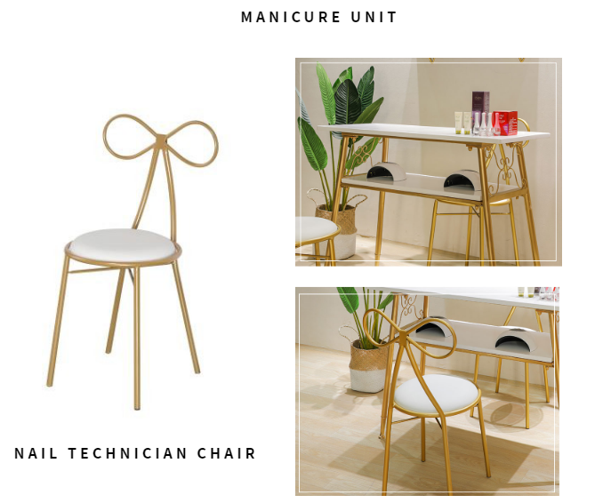 Affordable nordic gold single double nail manicure table with nail polish nail technician chair wholesale DS-N680 SET
