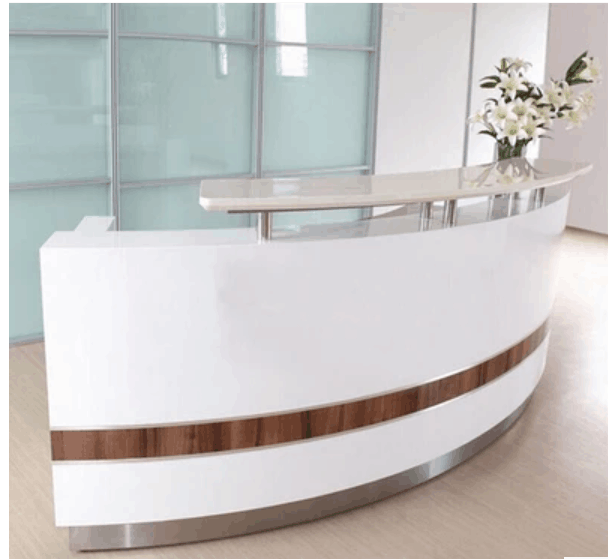 Modern white curved reception desk front desk for sale counter design for salon furniture
