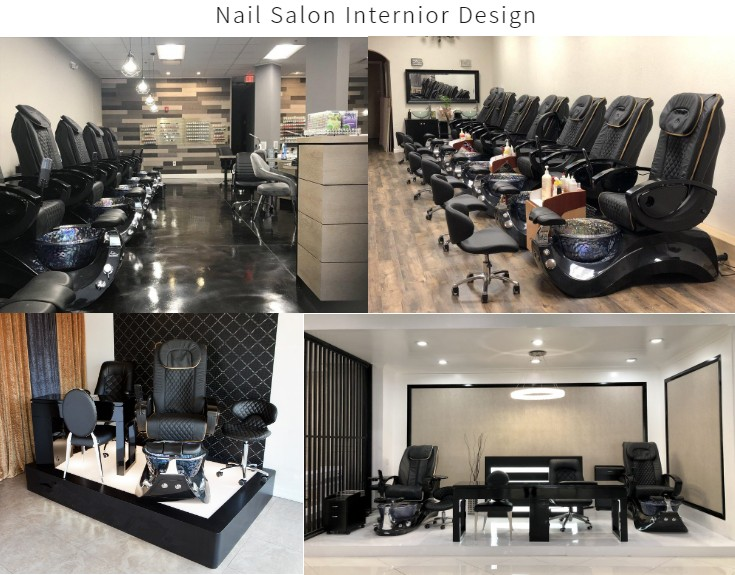 Black Pedicure Chair Nail Salon Package