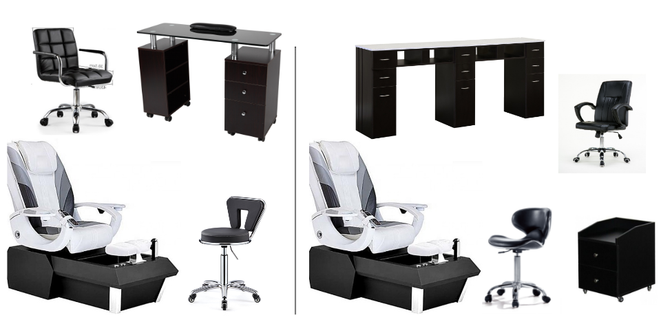 spa supply wholesale nail salon furniture luxury white spa pedicure chair and manicure table set supplies DS-W9001 SET