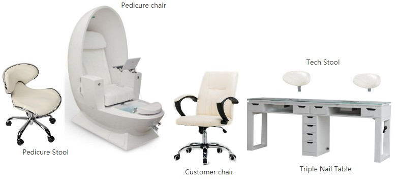 EGG Spa Pedicure Chair Package Manicure Pedicure Nail Station Manufacturer Salon Spa Nail Furniture DS-EGG SET