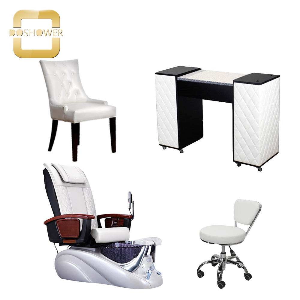 spa chairs luxury nail salon pedicure manicure with modern nail bar table wholesale china DS-W2018 SET