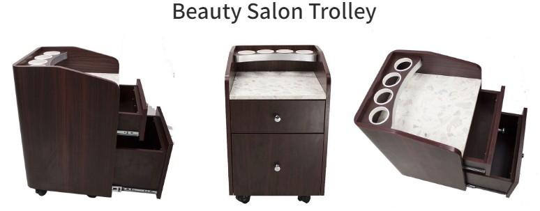 salontrolley luxury wooden salon trolley for beauty salon nail trolley manufacture china DS-BT21