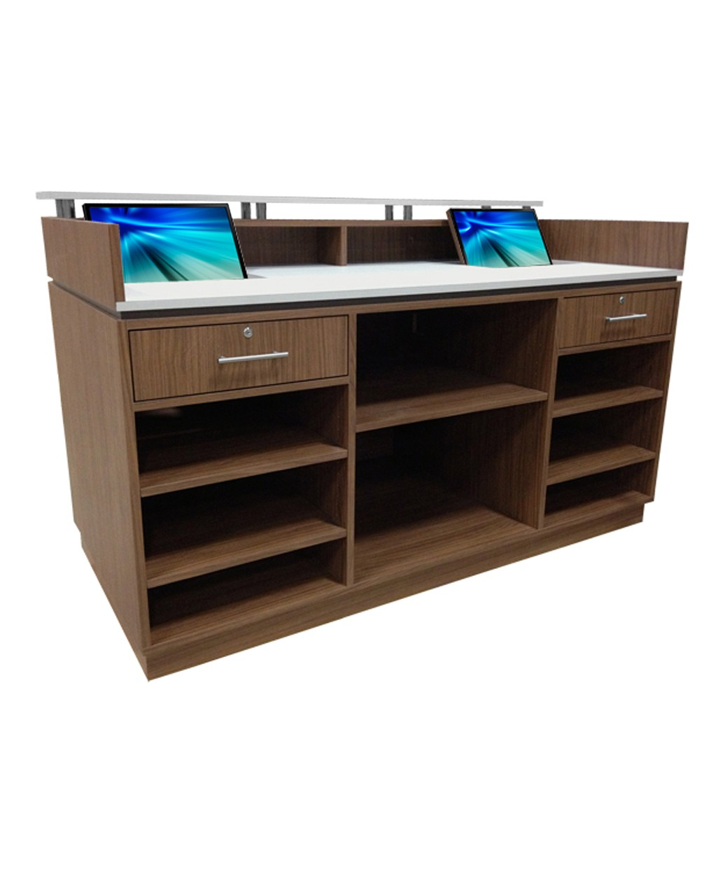 Salon Reception Desk Wood Finishes with Drawers Salon Waiting Area Furniture DS-W1846