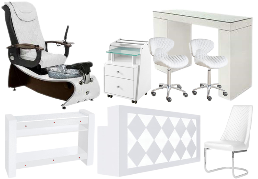 pedicure chair salon collection white pedicure chair with glass manicure table chair set manufacturer china DS-J20 SET