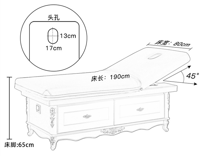 Solid Wood Massage Bed with Storage Heavy Duty Facial Bed of Massage Bed For Sale China DS-M9001
