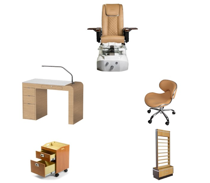 Cheap Massage Pedicure Chair with Nail Table Beauty Salon Furniture Package Wholesale DS-L1902 SET