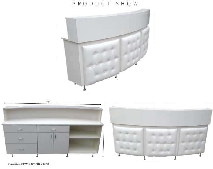lastest white round curved reception desk high gloss salon reception counter desk manufacturer china DS-RT201
