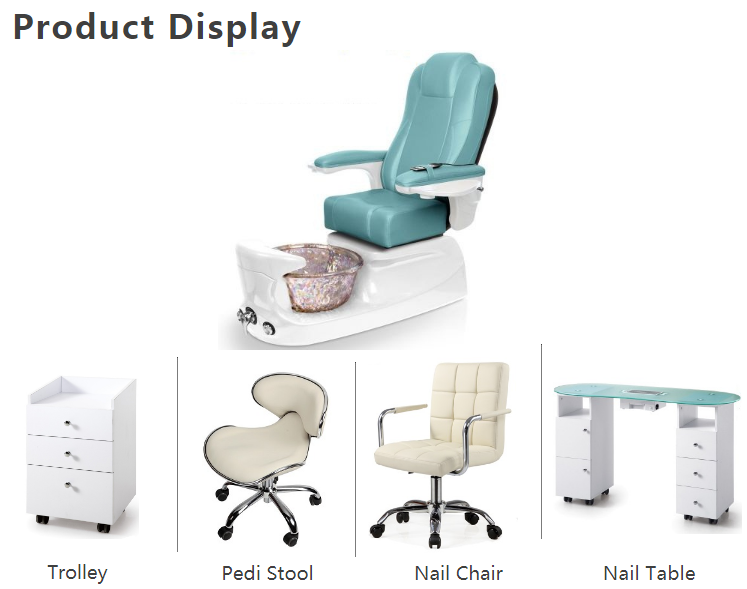 nail salon furniture manicure table and chair set with pedicure foot spa massage chair pedicure slippers for wholesale DS-W1959 SET