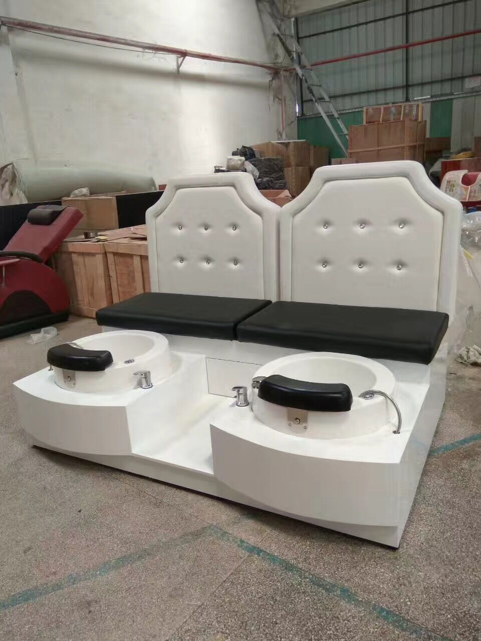 Customized double seats pedicure chair foot SPA bench manicure station