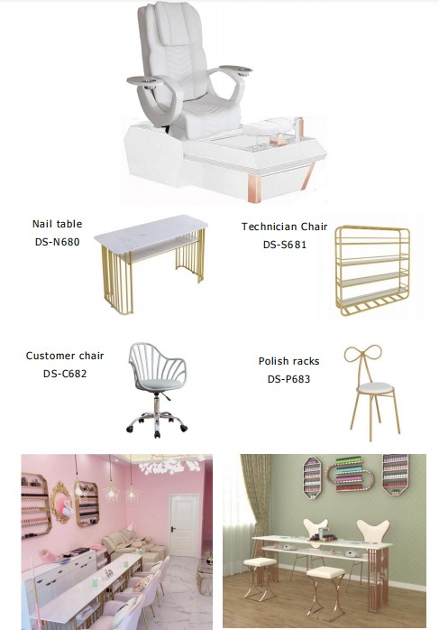 nail station furniture high quality pedicure spa chair nail art manicure table supplies china DS-W1900A SET