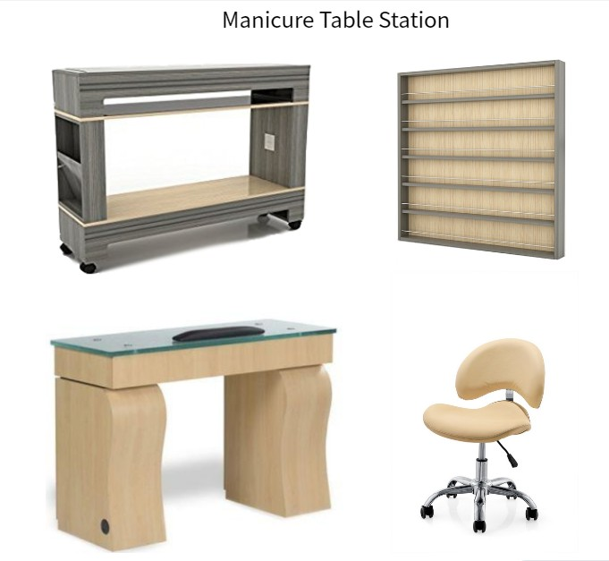 Manicure Table Station Nail Table with Client Chair Nail Dryer Table Station Wholesale China DS-N9520 SET