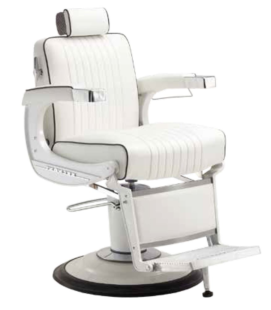 White Elegance Barber Chair With  Hydraulic Pump Base Beauty Salon Equipment