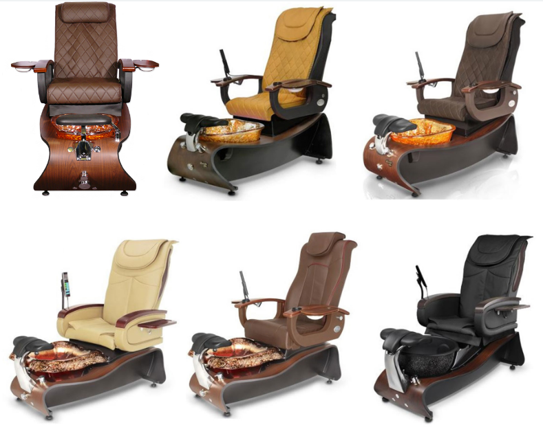 modern pedicure chair with double nail table manufacturer of luxury nail salon design DS-W21A SET