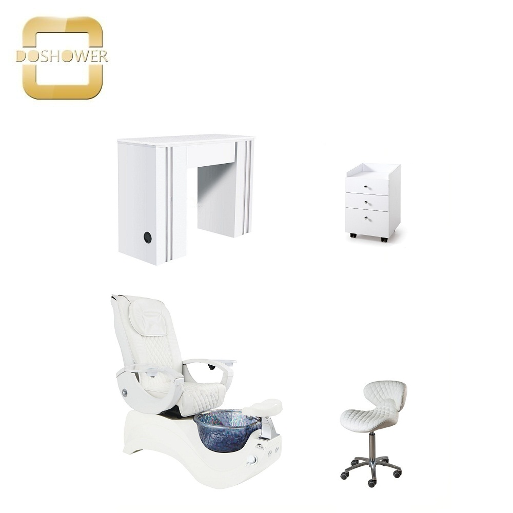 Customized Luxury White Nail Table With Customer Chair Nail Bar Station Wholesale China DS-N91013 SET