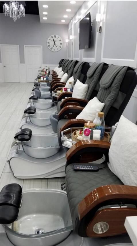 gold nail salon pedicure chair with double manicure table of wholeset salon package wholesale