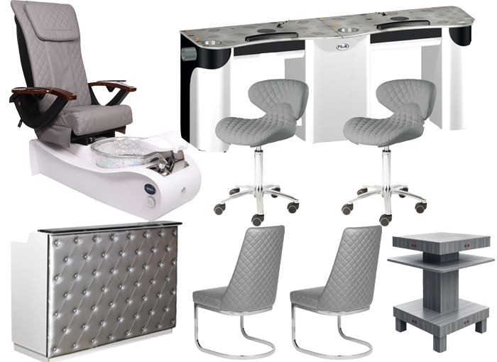 exhaust vent air system pedicure chairs package with custom vent nail table wholesale china DS-W2057 SET