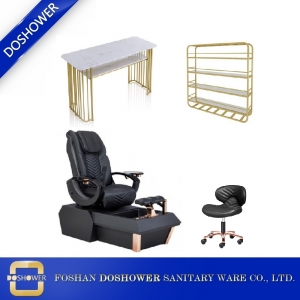 Rose Gold Pedicure Spa Chair with Nail Table Set Luxury Salon Equipment Wholesale DS-W1900B SET
