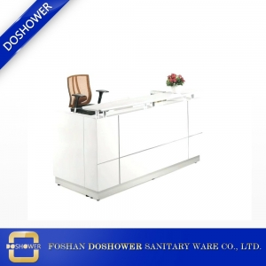 Small Modern Gloss White Reception Desk with Quartz Counter TOP DS-W1847
