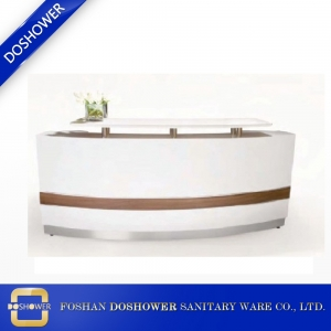 White bow shape modern reception with white marble counter top