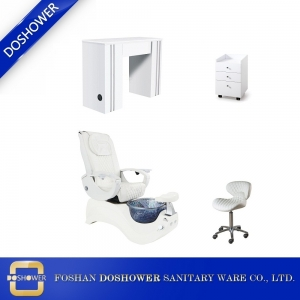 White luxury foot spa pedicure chair nail spa manicure table set beauty salon furniture supply DS-S15B SET