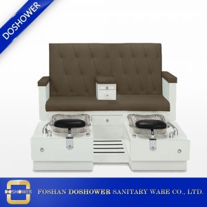 china double pedicure chair luxury glass bowl wood spa pedicure station