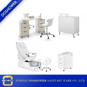 china pedicure chair white spa chair new design nail table reception table for sale DS-W18173 SET