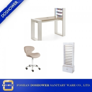 nail salon furniture marble nail table dust collector with nail chairs nail salon polish rack on sale DS-W18118A SET