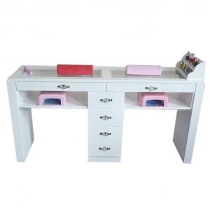 China Wholesale Double Spa Nail Desk Wholesale Wood White