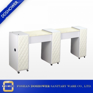 wholesale double white manicure table with marble top china manicure table factory DS-W19118