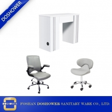 China Customized Luxury White Nail Table With Customer Chair Nail Bar Station Wholesale China DS-N91013 SET factory