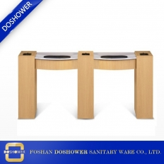China Double Nail table with UV gel nail hold with manicure table manufacturer for nail salon furniture factory
