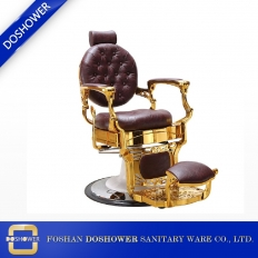 Fabbrica della Cina Professional High Quality Hydraulic Reclining Barber Chair Classic Vintage Style Burgundy & Gold