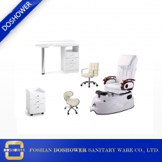 China beauty salon furniture set cheap white spa pedicure massage chair with salon table wholeset wholesale DS-3 SET factory