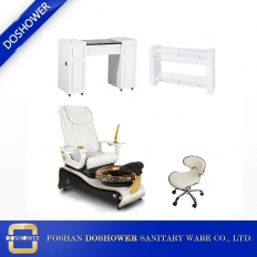 China china best golden pedicure spa chair package and manicure table station supplier and manufacturer DS-W1802 SET factory