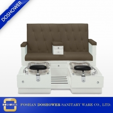 China china double pedicure chair luxury glass bowl wood spa pedicure station factory