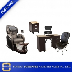 China complete pedicure spa chair with hot sale wooden nail table tech chair wholesale china DS-W28A SET factory