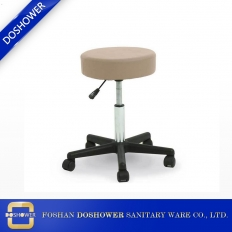China cream round nail salon chairs leather covers round bar stool factory