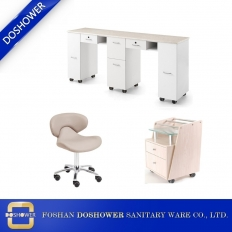 China double manicure table with granite tops and nail chairs polish display station manufacturer DS-1444 SET factory