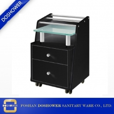 China glass glow pedicure cart with pedicure cabinet carts trolley with two storage drawers DS-BT2 factory