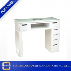 China glass top work surface white manicure table beautiful china made nail table manufacturer factory