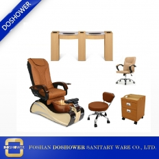 China gold nail salon pedicure chair with double manicure table of wholeset salon package wholesale factory