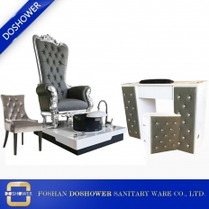 China grey throne pedicure chair and manicure table set luxury alon furniture pacakge DS-ThroneB SET factory