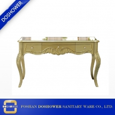 China luxury gold manicure table with glass top nail table of nail salon table supplier DS-2700 factory