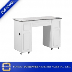 China modern cheaper marble manicure table nail salon white wooden nail table manufacturer DS-N1929 factory