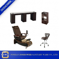 China modern pedicure chair with double nail table manufacturer of luxury nail salon design DS-W21A SET factory