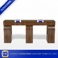 China nail salon showroom double wooden manicure table nail tech tables wholesaler china factory