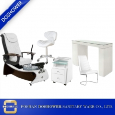 China pedicure chair salon collection white pedicure chair with glass manicure table chair set manufacturer china DS-J20 SET factory